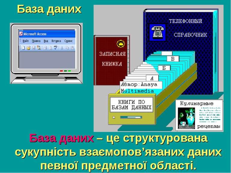 База даних База даних – це структурована сукупність взаємопов'язаних даних пе...