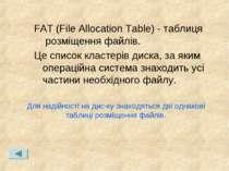 FAT (File Allocation Table) - таблиця розміщення файлів. Це список кластерів ...