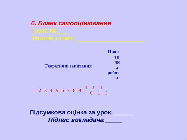 6. Бланк самооцінювання Група №___ Фамілія та ім'я ____________________ Підсу...