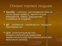 Ознаки торгівлі людьми Засоби ( погрози, застосування сили чи інших форм прим...