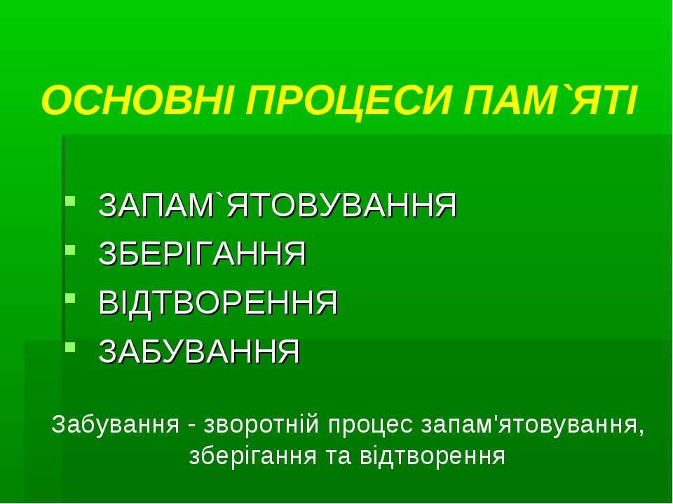 ОСНОВНІ ПРОЦЕСИ ПАМ`ЯТІ ЗАПАМ`ЯТОВУВАННЯ ЗБЕРІГАННЯ ВІДТВОРЕННЯ ЗАБУВАННЯ Заб...