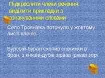 Підкреслити члени речення, виділити прикладки з означуваними словами Село Тро...
