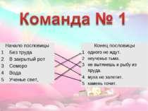 Начало пословицы 1 Без труда 2 В закрытый рот 3 Семеро 4 Вода 5 Ученье свет, ...