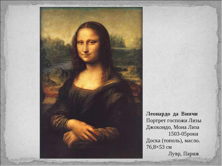 Леонардо да Винчи Портрет госпожи Лизы Джокондо, Мона Лиза 1503-05роки Доска ...
