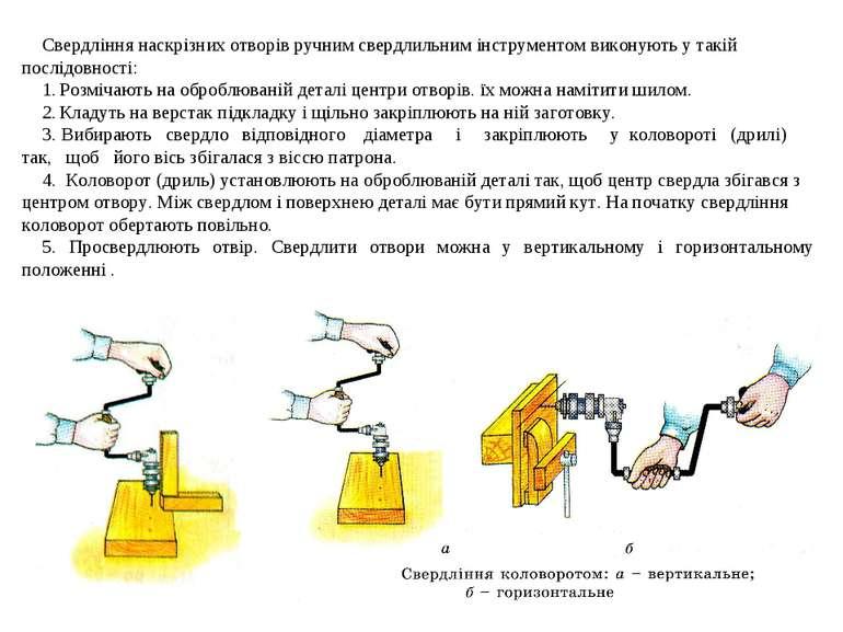Свердління наскрізних отворів ручним свердлильним інструментом виконують у та...