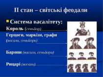 ІІ стан – світські феодали Система васалітету: Король (сеньйор) Герцоги, марк...