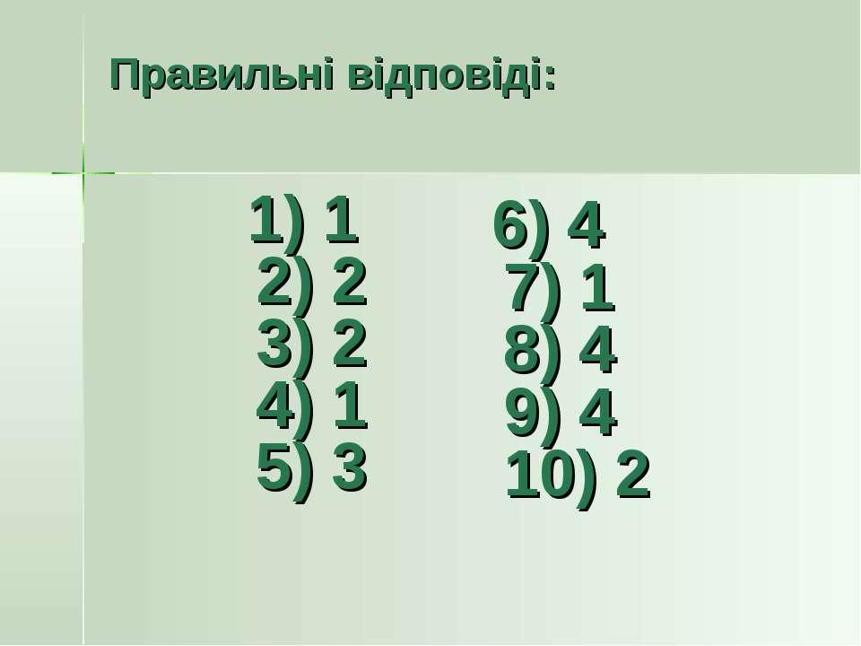 Правильні відповіді: 1) 1 2) 2 3) 2 4) 1 5) 3 6) 4 7) 1 8) 4 9) 4 10) 2