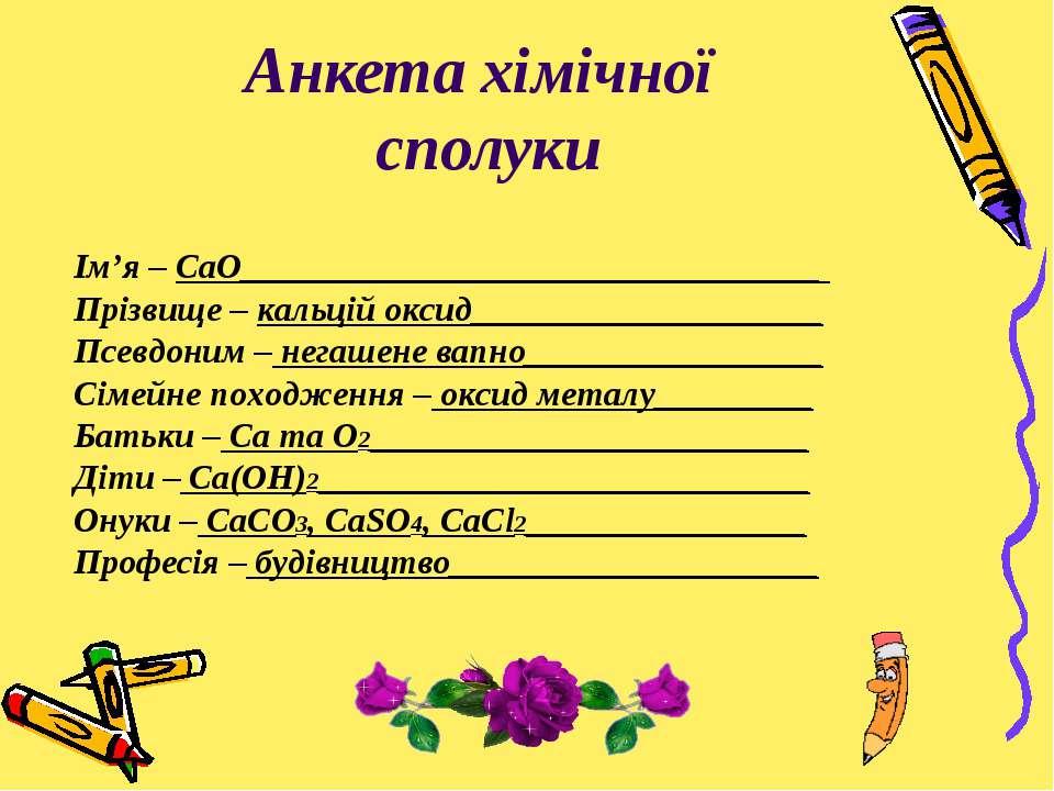 Анкета хімічної сполуки Ім'я – CaO_________________________________ Прізвище ...