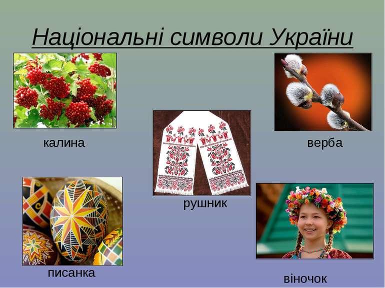 Національні символи України калина верба рушник писанка віночок