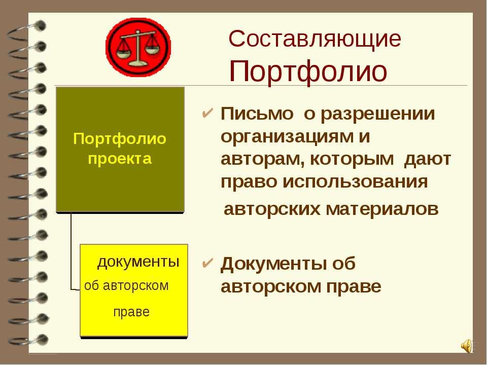 Составляющие Портфолио Письмо о разрешении организациям и авторам, которым да...