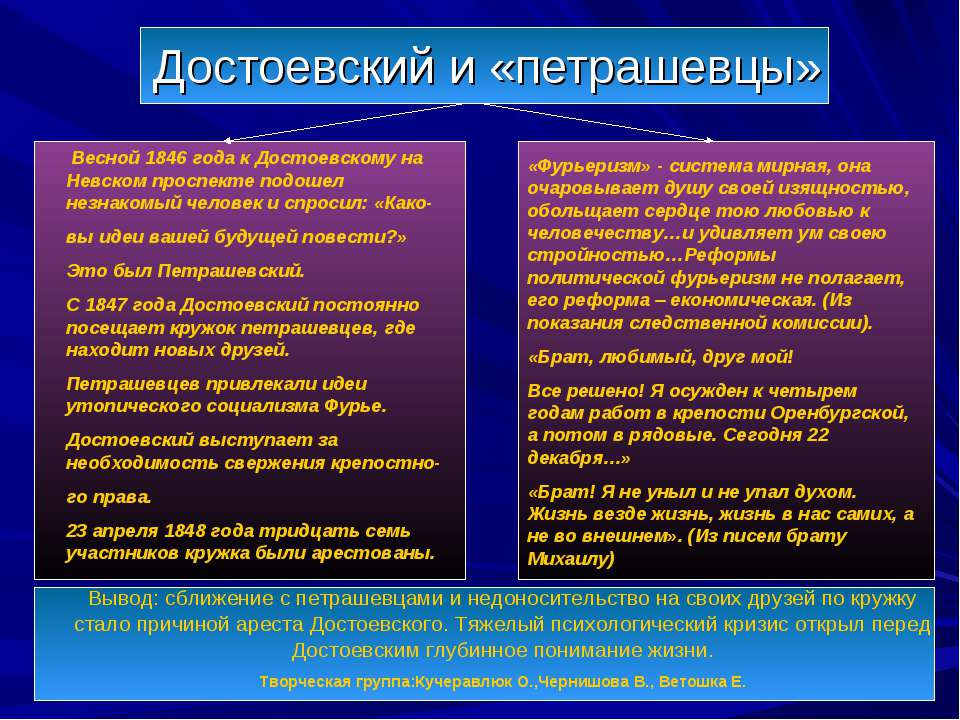 Достоевский и «петрашевцы» Весной 1846 года к Достоевскому на Невском проспек...
