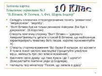 """Залікова картка Тематичне оцінюваня №3 """"В.Вітмен, Ф.Тютчев, А.Фет, Шарль Бодл..."""