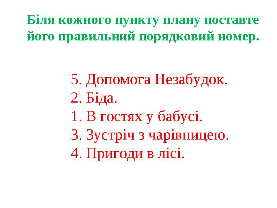 Біля кожного пункту плану поставте його правильний порядковий номер. 5. Допом...