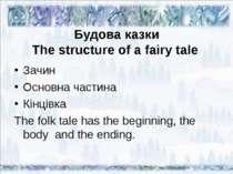 Будова казки The structure of a fairy tale Зачин Основна частина Кінцівка The...