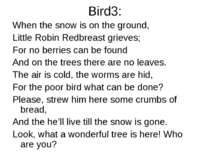 Bird3: When the snow is on the ground, Little Robin Redbreast grieves; For no...