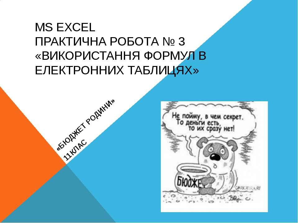 MS EXCEL ПРАКТИЧНА РОБОТА № 3 «ВИКОРИСТАННЯ ФОРМУЛ В ЕЛЕКТРОННИХ ТАБЛИЦЯХ» «Б...