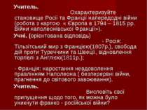 Учитель. Охарактеризуйте становище Росії та Франції напередодні війни (робота...