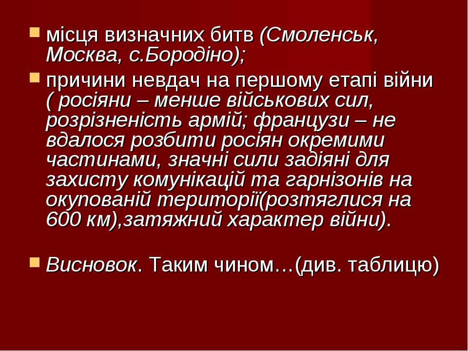 місця визначних битв (Смоленськ, Москва, с.Бородіно); причини невдач на першо...