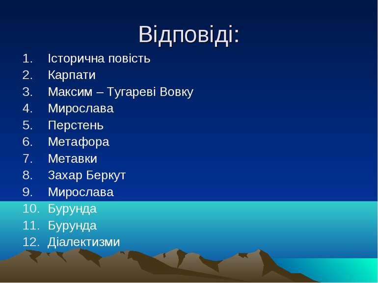 Відповіді: Історична повість Карпати Максим – Тугареві Вовку Мирослава Персте...