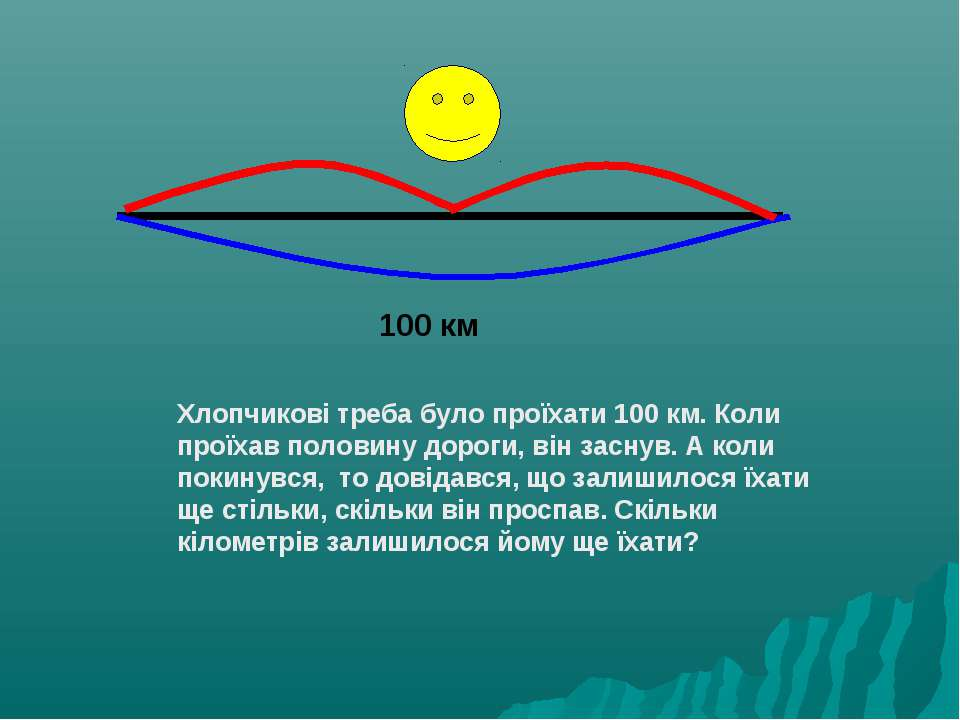 100 км Хлопчикові треба було проїхати 100 км. Коли проїхав половину дороги, в...