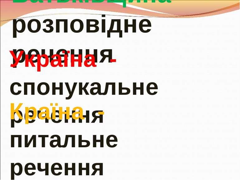 Батьківщина - розповідне речення Україна - спонукальне речення Країна - питал...