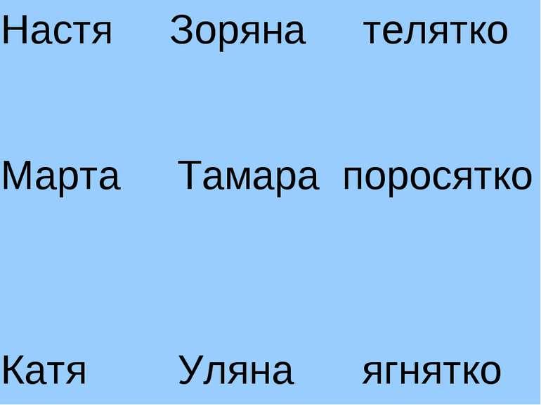 Настя Зоряна телятко Марта Тамара поросятко Катя Уляна ягнятко