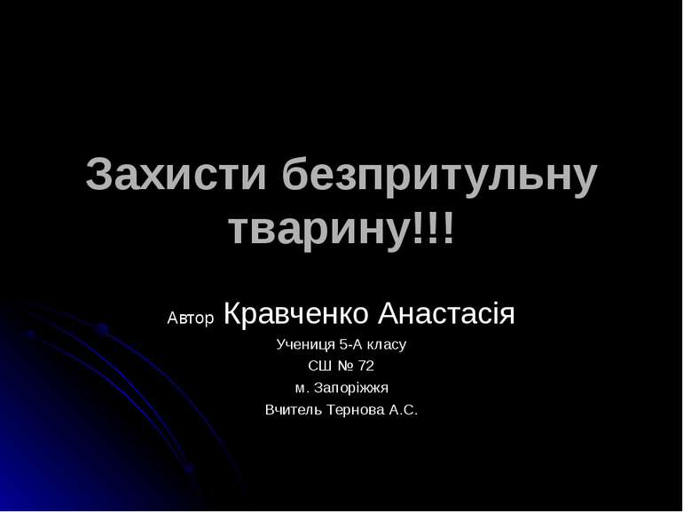Захисти безпритульну тварину!!! Автор Кравченко Анастасія Учениця 5-А класу С...