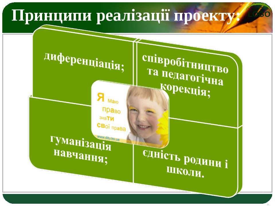 Принципи реалізації проекту:  єдність родини і школи. LOGO