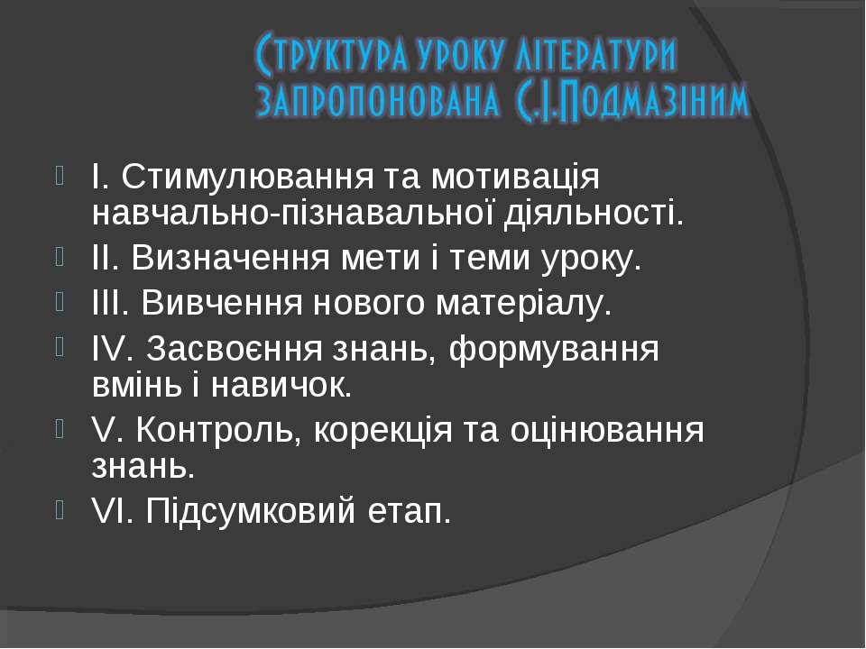 І. Стимулювання та мотивація навчально-пізнавальної діяльності. ІІ. Визначенн...
