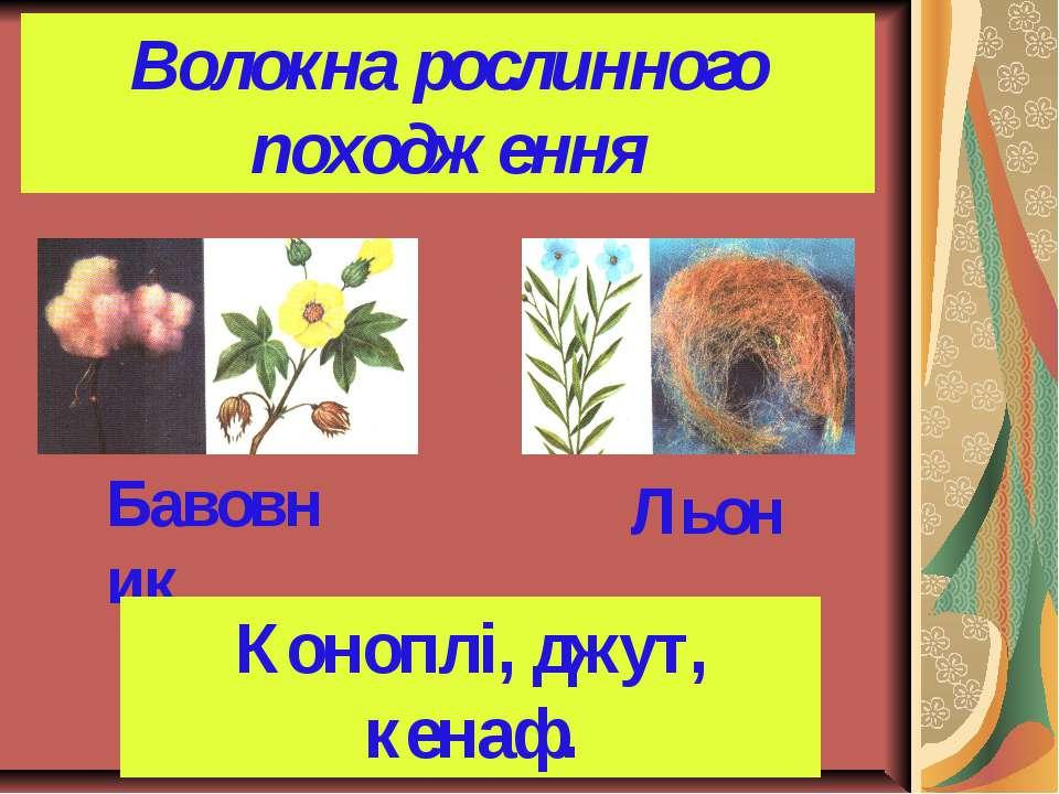 Волокна рослинного походження Бавовник Льон Коноплі, джут, кенаф.