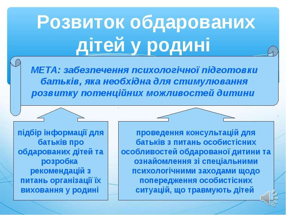 Розвиток обдарованих дітей у родині МЕТА: забезпечення психологічної підготов...