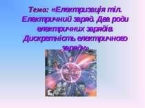 Тема: «Електризація тіл. Електричний заряд. Два роди електричних зарядів. Дис...