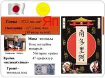 Японія Площа - 372,2 тис. км² Населення - 127,5 млн. чол. (10 місце в світі)....