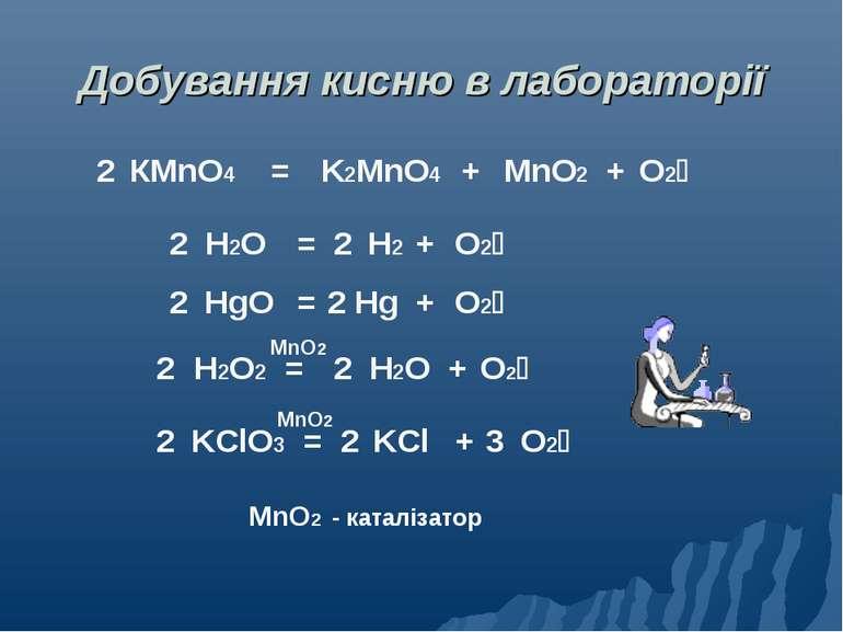 Добування кисню в лабораторії 2 КМnO4 = + + K2MnO4 MnO2 O2 2 H2O2 = H2O + 2 O...
