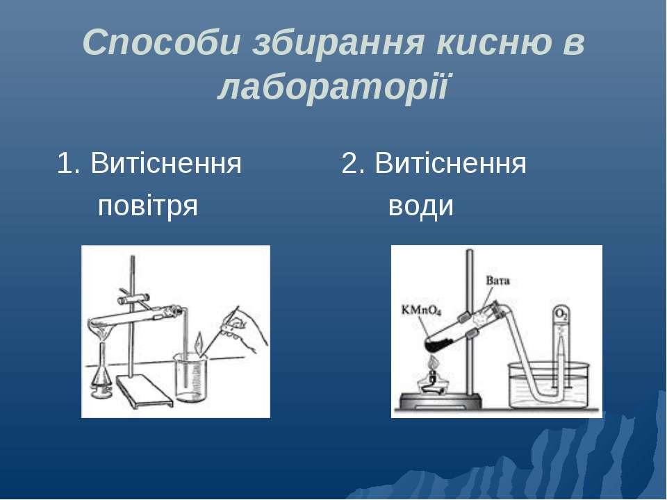Способи збирання кисню в лабораторії 1. Витіснення 2. Витіснення повітря води