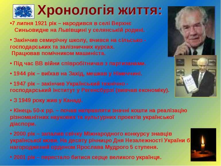 7 липня 1921 рік – народився в селі Верхнє Синьовидне на Львівщині у селянськ...