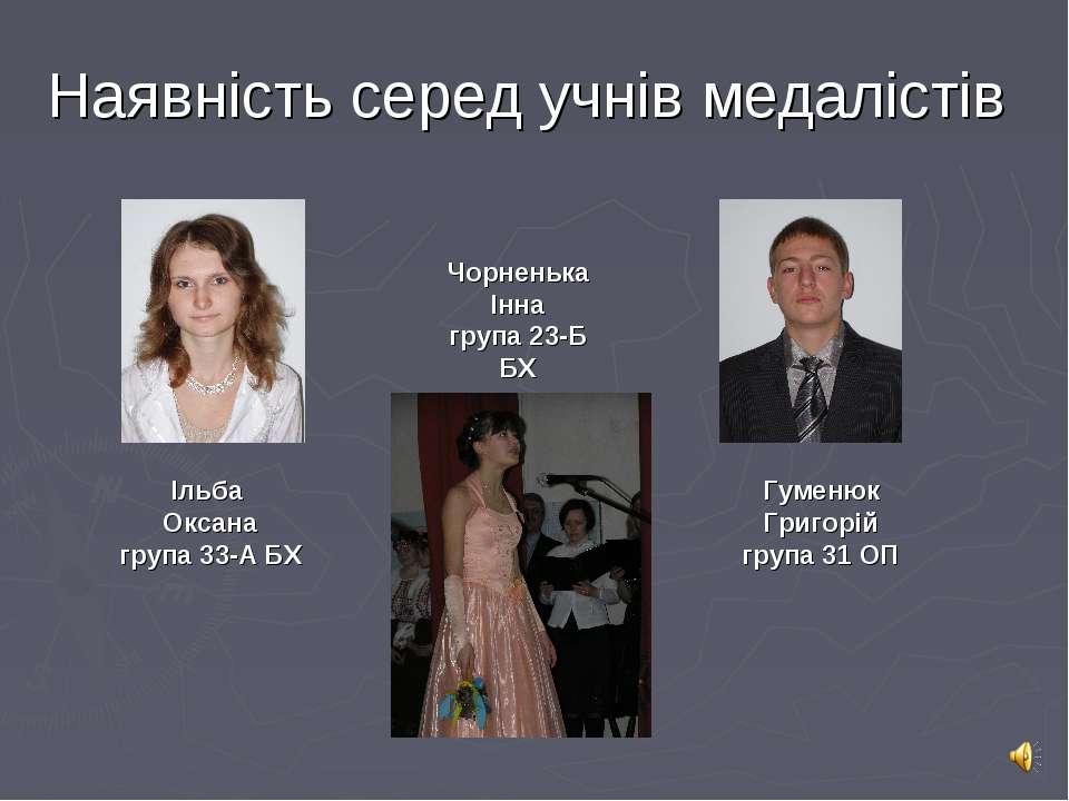 Наявність серед учнів медалістів Ільба Оксана група 33-А БХ Чорненька Інна гр...