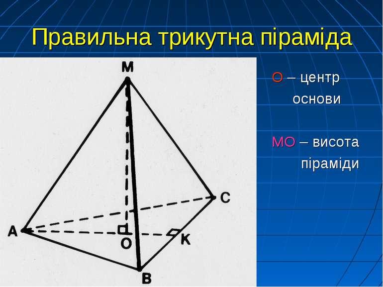 Правильна трикутна піраміда О – центр основи МО – висота піраміди