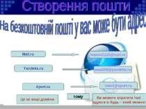 Mail.ru Yandeks.ru Aport.ru ivanov1122@mail.ru vasa008@yandeks.ru ivan1@aport...