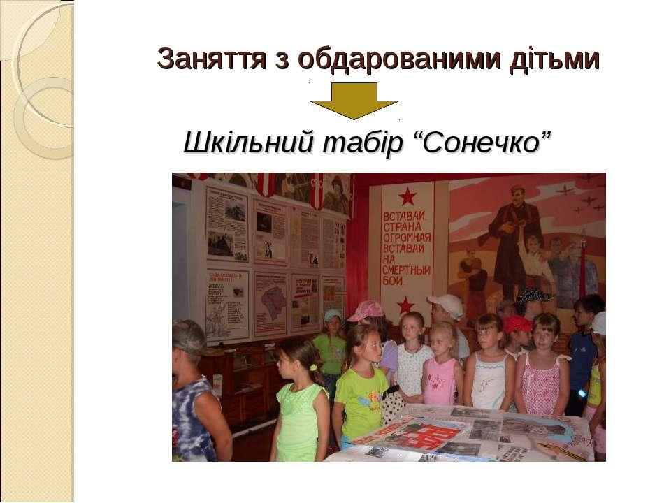 """Заняття з обдарованими дітьми Шкільний табір """"Сонечко"""""""