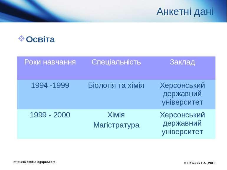 Анкетні дані Освіта © Олійник Т.А., 2010 http://xi77mik.blogspot.com Роки нав...