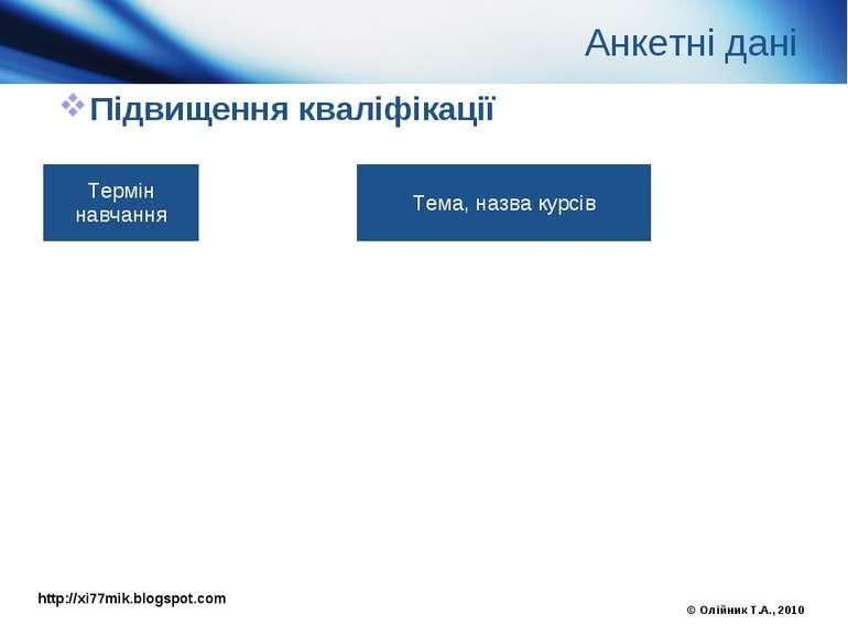 Анкетні дані Підвищення кваліфікації © Олійник Т.А., 2010 http://xi77mik.blog...