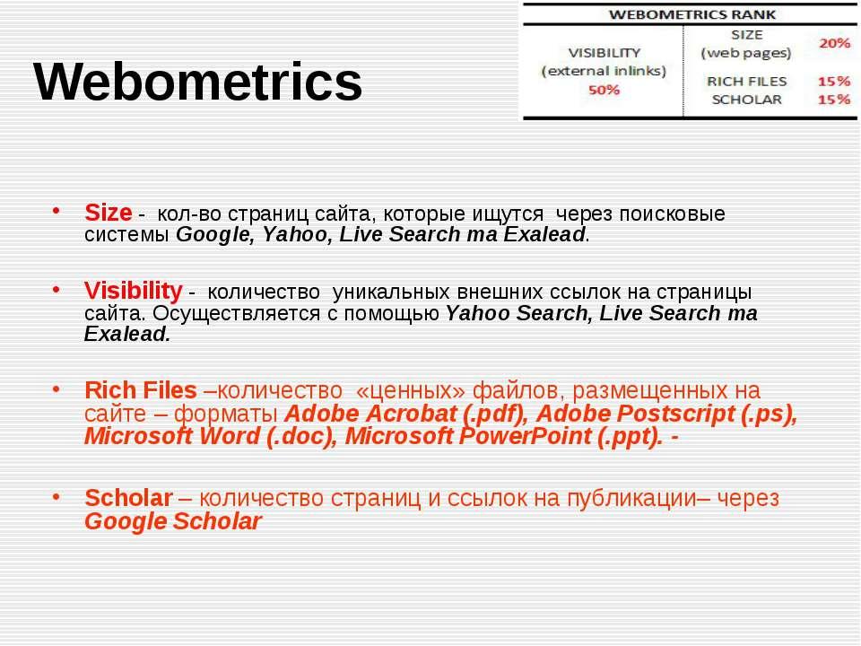 Webometrics Size - кол-во страниц сайта, которые ищутся через поисковые систе...