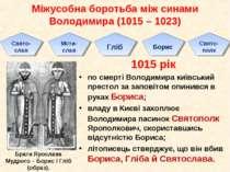 Міжусобна боротьба між синами Володимира (1015 – 1023) 1015 рік по смерті Вол...