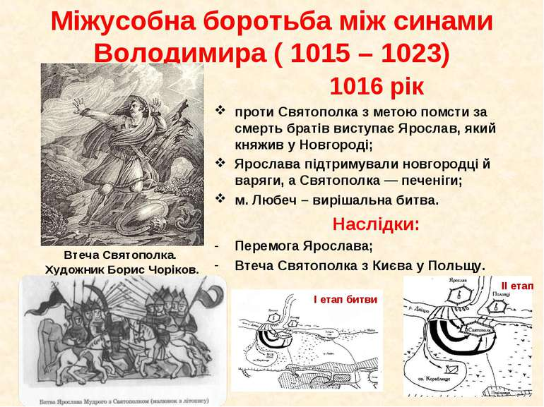 1016 рік проти Святополка з метою помсти за смерть братів виступає Ярослав, я...