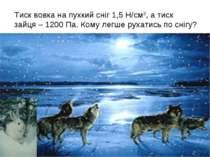 Тиск вовка на пухкий сніг 1,5 Н/см2, а тиск зайця – 1200 Па. Кому легше рухат...