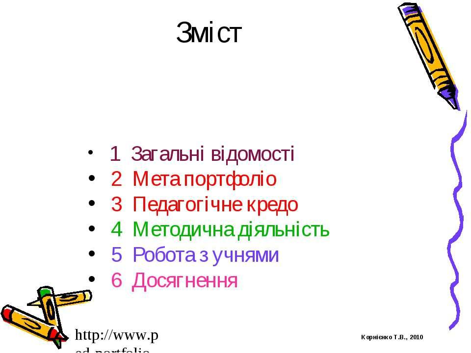 Зміст 1 Загальні відомості 2 Мета портфоліо 3 Педагогічне кредо 4 Методична д...