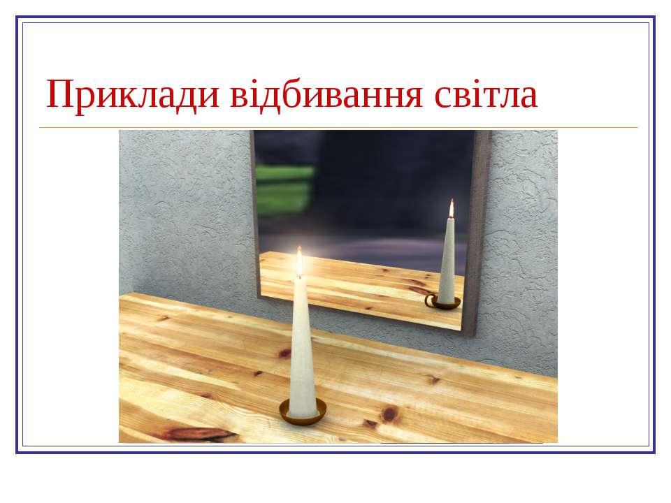Приклади відбивання світла