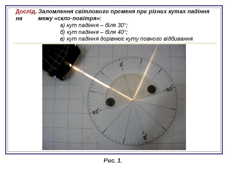 Дослід. Заломлення світлового променя при різних кутах падіння на межу «скло-...