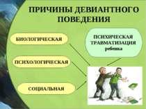ПРИЧИНЫ ДЕВИАНТНОГО ПОВЕДЕНИЯ БИОЛОГИЧЕСКАЯ ПСИХОЛОГИЧЕСКАЯ СОЦИАЛЬНАЯ ПСИХИЧ...